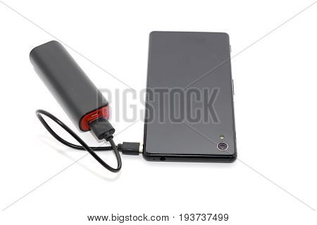 Black Smart Phone Charger With Power Bank Battery Bank On White Background With Clipping Path