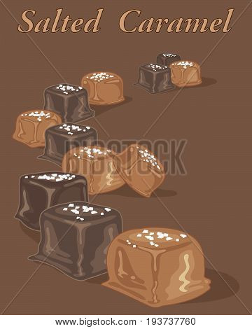 an illustration of a selection of salted caramel candies on a chocolate background