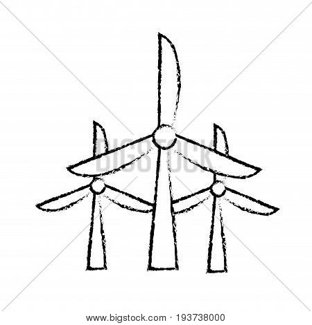 figure windpower technology to environment protection vector illustration
