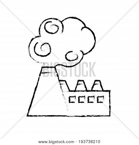 figure industrial factory pollution with toxic pollution vector illustration