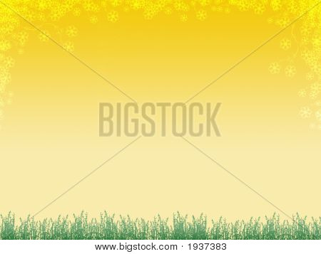 Background With Grass And Flowers