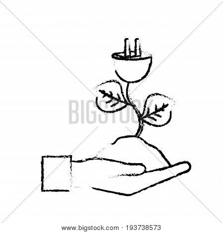 figure hand with power cable plant with leaves and ground vector illuctration