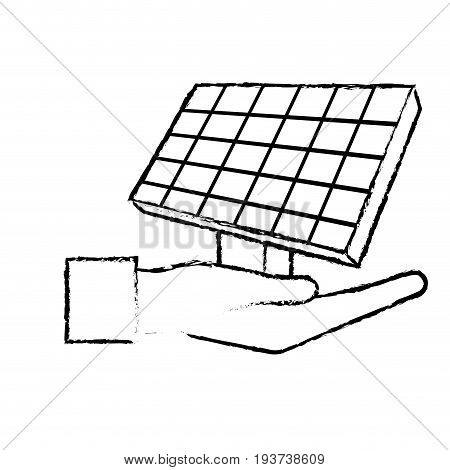 figure hand with solar energy element to reuse energy vector illustration