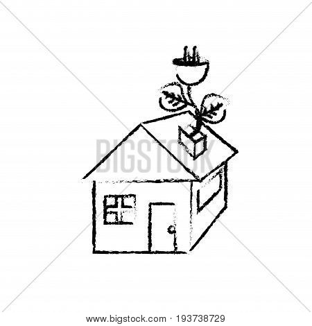 figure house with power cable with leaves to reduce energy vector illustration