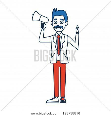 politician man holding speaker in election campaign vector illustration