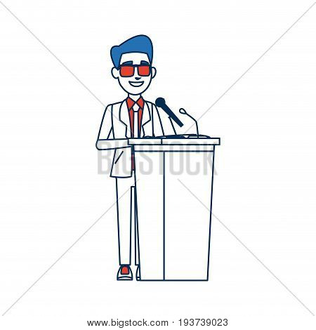politician man standing behind rostrum and giving a speech vector illustration