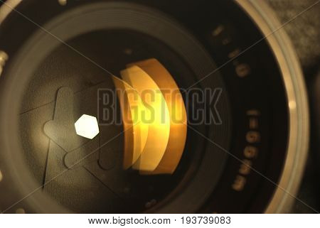 close-up image of photographic lens (diaphragm open)