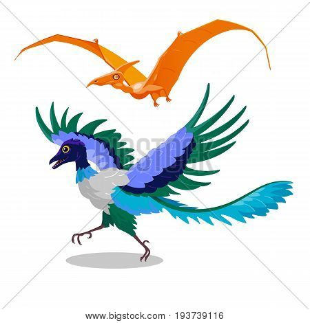Comical decorative orange color pterodactyl and blue archaeopteryx. Isolated vector dinosaurs