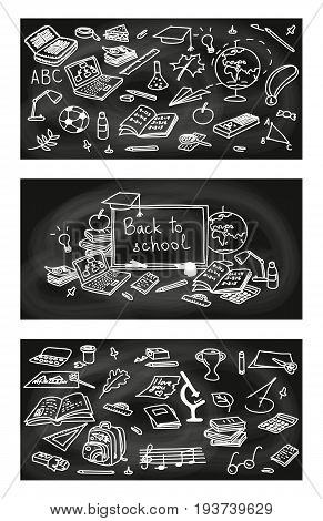 Back to school set of cards with educational objects on black chalk board background. 3 labels in 1. poster, invitation, greeting, business card. For decoration, packing, wrapping, prints. school pack