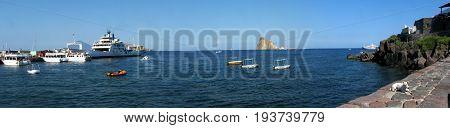 Panoramic shot of Panarea Island (harbor) - Messina - Sicily - Italy