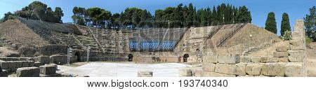 Panoramic shot of Tindari's greek Theatre - Messina - Sicily - Italy