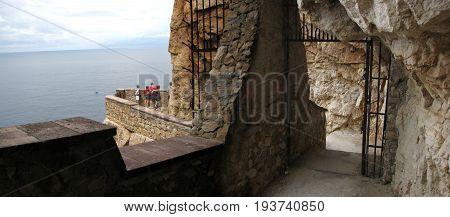 Alghero - Sardinia (Italy). Neptune's Cave - Panoramic shot of Escala del Cabirol