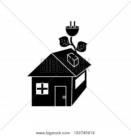 contour house with power cable with leaves to reduce energy vector illustration