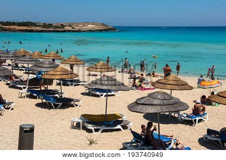 Nissi Beach Resort. White Sand And Crystal Clear Sea Water. Cyprus Island