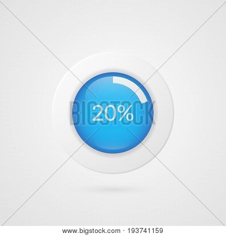 20 percent blue white pie chart. Percentage vector infographics. Twenty Circle diagram isolated symbol. Business illustration icon for marketing presentation project data report information plan web design