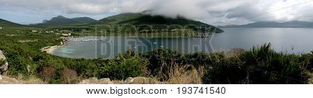 Panoramic shot of Cala Tramariglio - Sardinia (Italy)