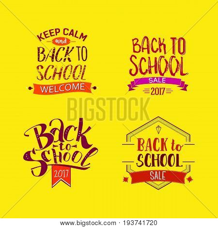 Welcome back to school labels. School tags set on bright yellow background. Back to school sale logo collection. Vector illustration. Hand drawn lettering badges. Typography emblem set. Retro style