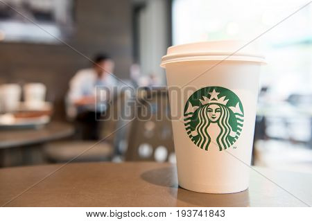 Berlin Germany-May 31.2017: A tall Starbucks coffee in starbucks coffee shop. Starbucks is the world's largest coffee house with over 20000 stores in 61 countries.