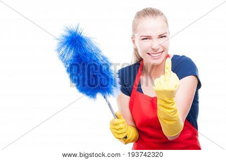 Housewife In Cleaning Clothes Rising Middle Finger
