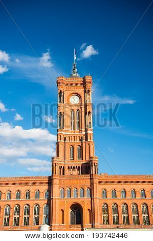 Panoramic Front View Of The Red Town Hall In Berlin