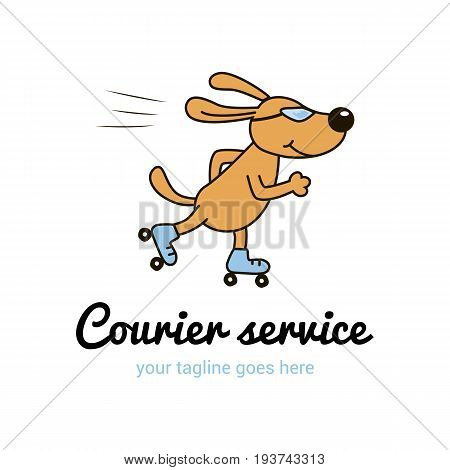 Vector logo template for courier service. Illustration of dog rides Rollick. Creative logotype. EPS 10.