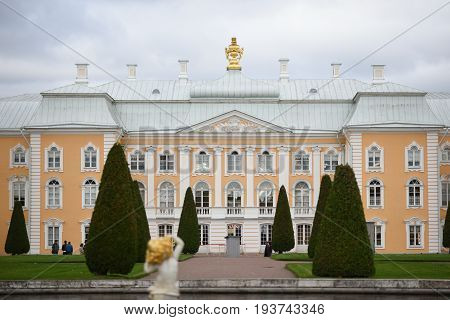 Peterhof Russia October 5 2016: Front of Peterhof Palace i Petersburg Russia.