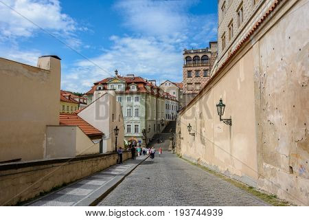 Prague, Czech Republic - June 6, 2017: Walls of the ancient Prague Castle, Prague, Czech Republic