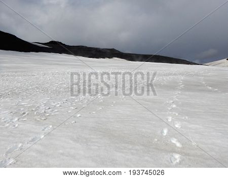 Snowy Mountain Plateau At Fimmvorduhals In Iceland