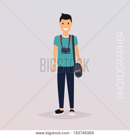 Photographer with camera. Flat design modern vector illustration concept.