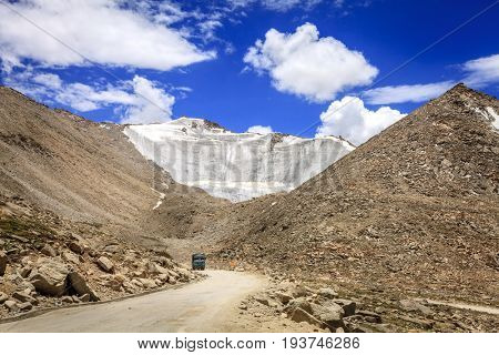 A truck in Changla pass in Ladakh, India - the world's third highest road pass