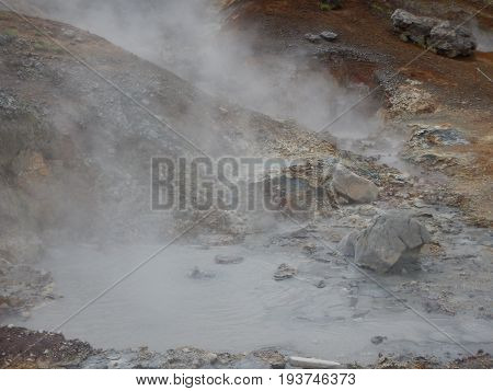 Hveragerdi Valey Of Hot Streams And Waterfalls In Iceland