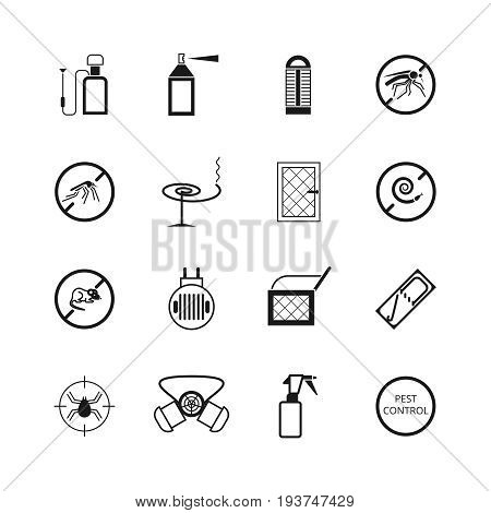 Insects and pest control vector pictograms. Pest insect mosquito, illustration of stop mouse