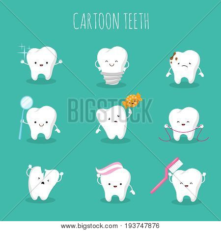 Cute cartoon tooth vector set. Baby teeth health and hygiene icons. Healthcare tooth and protection, illustration of dental and stomatology