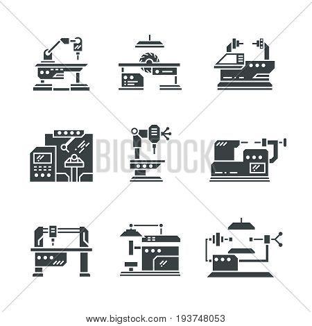 Steel industry machine tools vector icons. Equipment tools industrial metalwork illustration