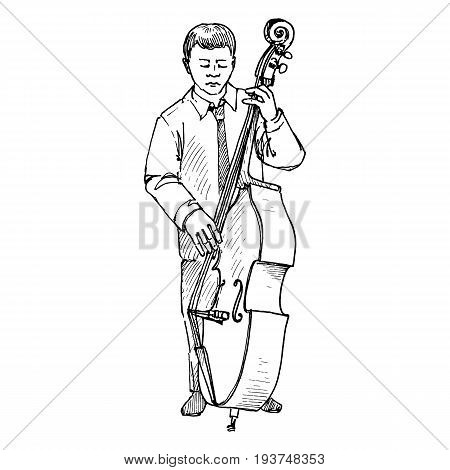 Sketch of young man playing double bass, hand drawn vector illustration