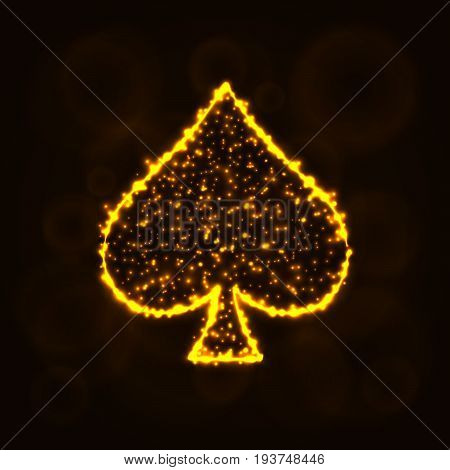 Card suits illustration icon, Lights Silhouette on Dark Background. Glowing Lines and Points. Card suits vector illustration. Spades sign.