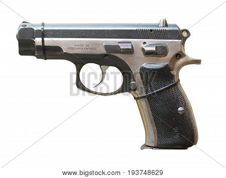 Wroclaw, Poland - July 4, 2017: Close Up On Cz 75 Compact Handgun Isolated On White