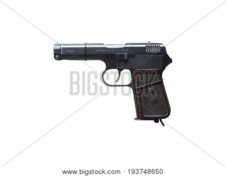 Wroclaw, Poland - July 4, 2017: Close Up On Cz38  Handgun Isolated On White