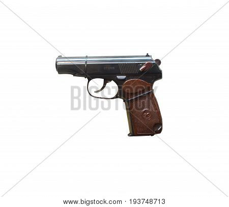 Wroclaw, Poland - July 4, 2017: Close Up On Makarov  Handgun Isolated On White