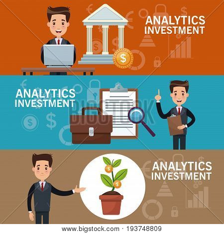 color banners analytics investment with set of businessman in presentation vector illustration
