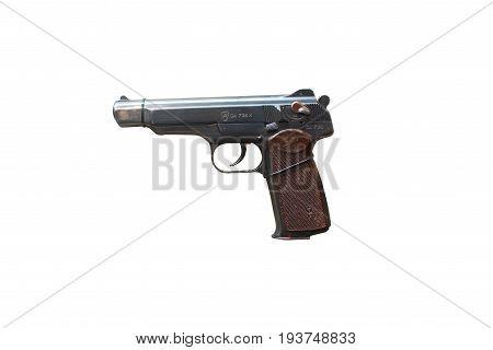 Wroclaw, Poland - July 4, 2017: Close Up On Sticzkin  Handgun Isolated On White