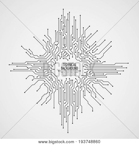 Computer motherboard vector background with circuit board electronic elements. Chip electronic pattern for computer technology, motherboard integrated computing illustration