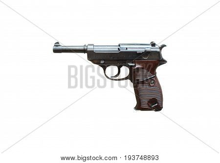 Wroclaw, Poland - July 4, 2017: Close Up On Walther P38  Handgun Isolated On White
