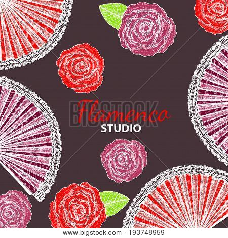 vector hand drawn dark flamenco template with roses and fans