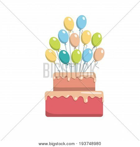 Great birthday cake topper for a birthday. Vector image of a Happy Birthday cake isolated on white background