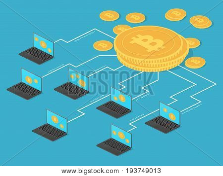 Crypto money and net banking. Bitcoin mining vector concept. Mining bit coin with laptop computer illustration