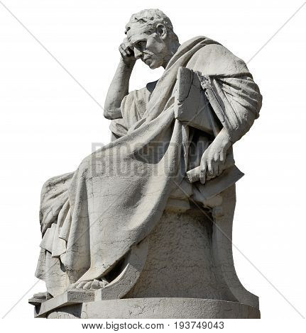 Julian the Jurist in the act of thinking statue in front of the Old Palace of Justice in Rome (isolated on white background)