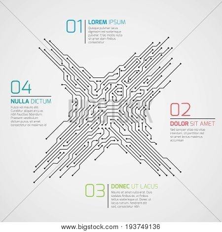 Computer technology vector infographic template with circuit board and options. Electronic high tech concept electronic connection scheme structure circuit board illustration