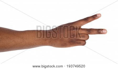 Black hand with two fingers up isolated on white background. Peace or victory symbol, playboy gesture, letter V ing sign laguage