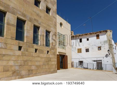 REQUENA, SPAIN - JUNE 13, 2017: Modern building of the San Nicolas Museum in Requena, Spain